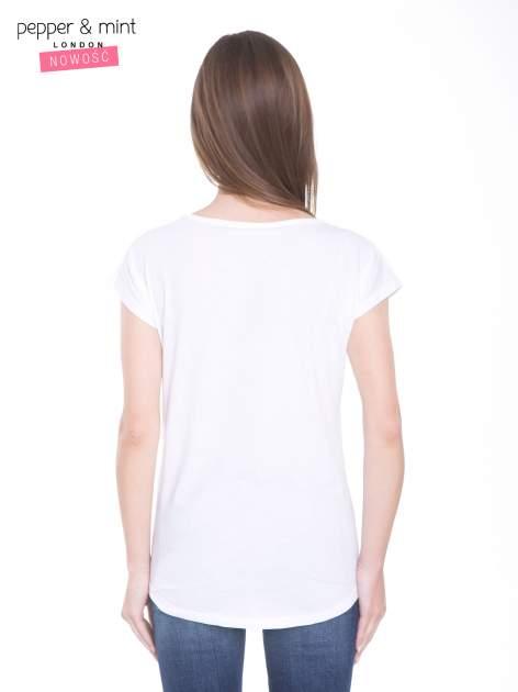 Biały t-shirt z nadrukiem kwiatowym i złotym napisem GRUNGE                                  zdj.                                  4