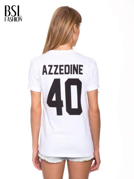 Biały t-shirt z nadrukiem numerycznym AZZEDINE 40 z tyłu                                  zdj.                                  5