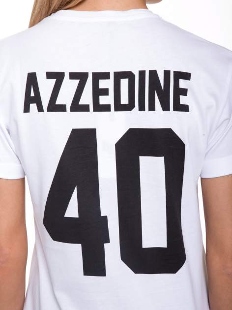 Biały t-shirt z nadrukiem numerycznym AZZEDINE 40 z tyłu                                  zdj.                                  9