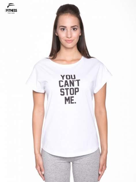 Biały t-shirt z nadrukiem tekstowym YOU CAN'T STOP ME                                  zdj.                                  1