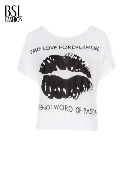 Biały t-shirt z nadrukiem ust i napisem TRUE LOVE                                  zdj.                                  2