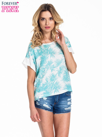 Biały t-shirt z nadrukiem w palmy