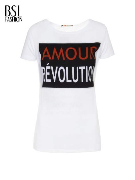Biały  t-shirt z napisem AMOUR RÉVOLUTION                                  zdj.                                  2