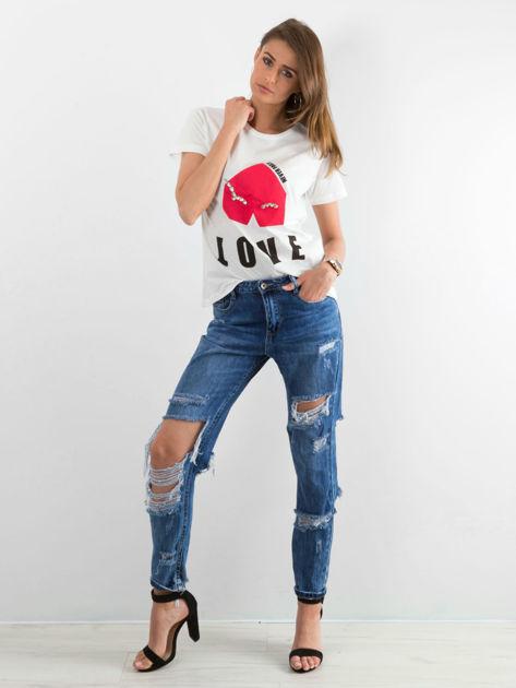 Biały t-shirt z napisem LOVE NEVER FAILS                                  zdj.                                  6