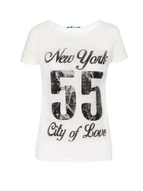 Biały t-shirt z napisem NEW YORK CITY OF LOVE 55                                  zdj.                                  1