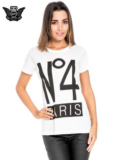 Biały t-shirt z napisem NO. 4 PARIS