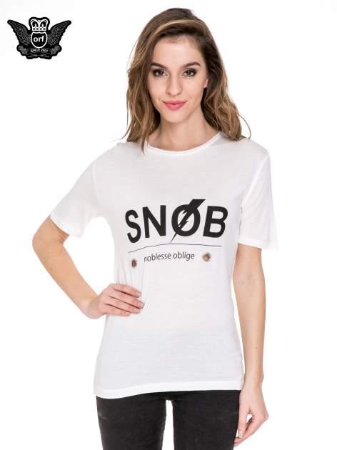 Biały t-shirt z napisem SNOB                                  zdj.                                  1