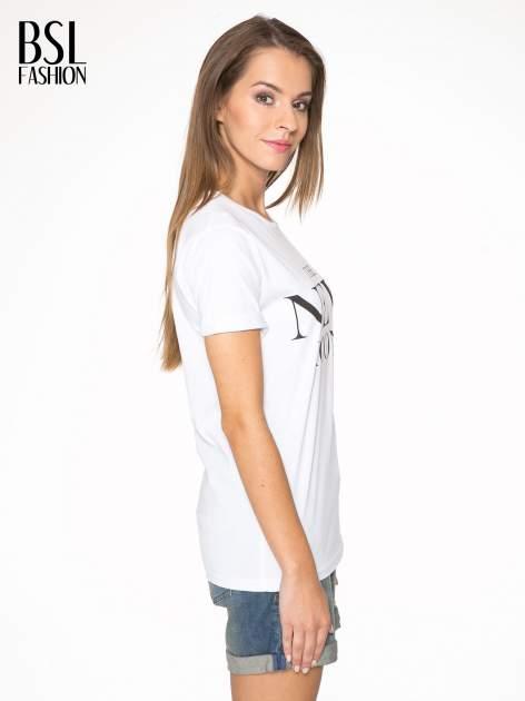 Biały t-shirt z napisem THE NEW ICONS                                  zdj.                                  3