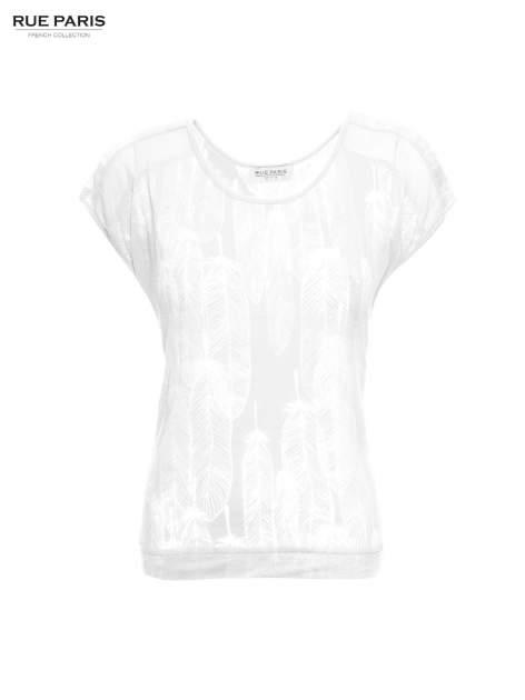 Biały t-shirt z transparentnym nadrukiem piór                                  zdj.                                  2