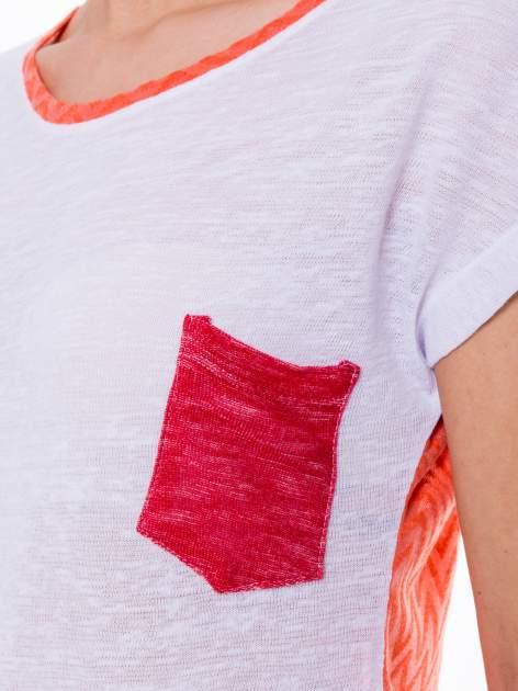 Biały t-shirt z wydłużanym tyłem w pomarańczowym kolorze                                  zdj.                                  6
