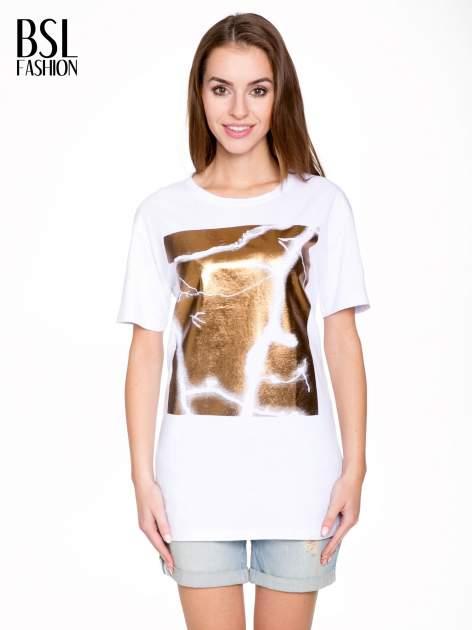 Biały t-shirt ze złotą grafiką
