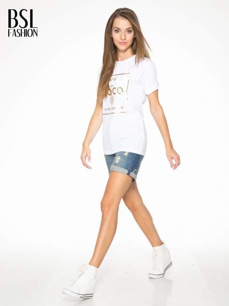 Biały t-shirt ze złotym nadrukiem NO. 4 COCO                                  zdj.                                  5