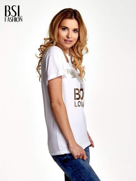 Biały t-shirt ze złotym nadrukiem orła i napisem BOY LONDON                                  zdj.                                  3