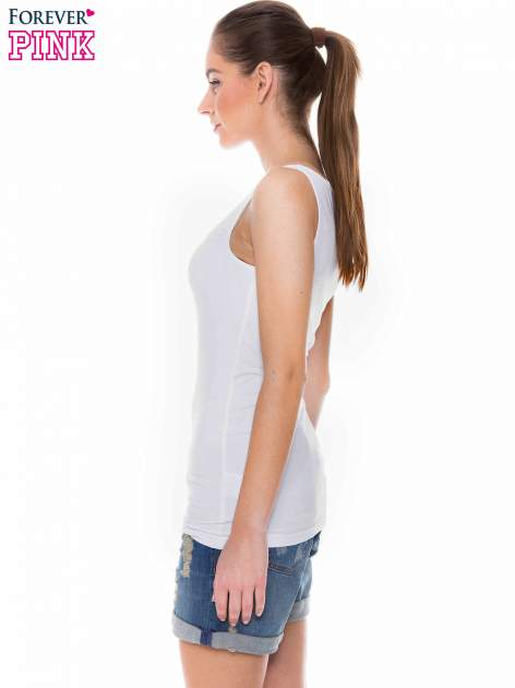 Biały top na szerokich ramiączkach                                  zdj.                                  2