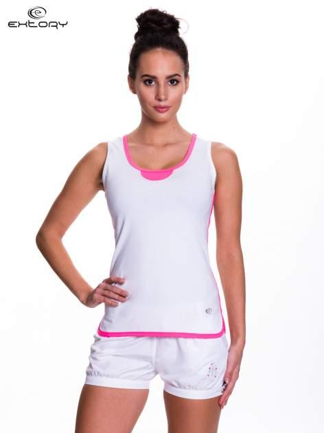 Biały top sportowy z różowym obszyciem z dżetami                                  zdj.                                  1