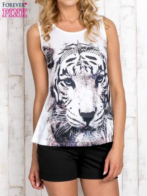 Biały top z motywem tygrysa