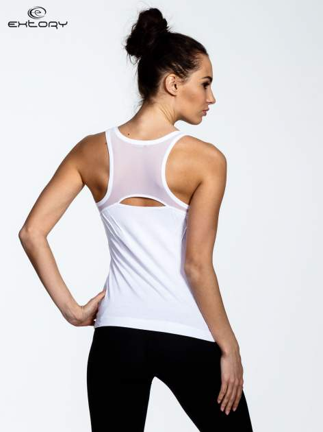 Biały top z tiulowym wykończeniem na plecach                                  zdj.                                  3