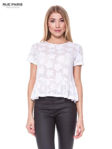 Biały transparentny t-shirt w kwiaty z baskinką
