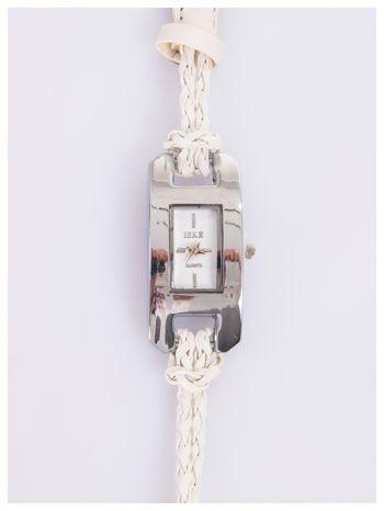 Biały zegarek damski na długim plecionym pasku