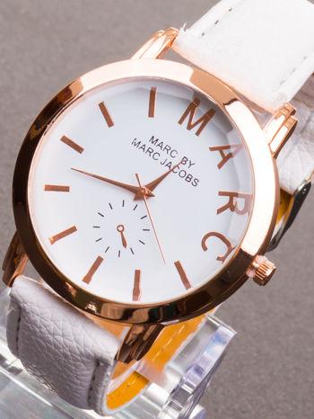 Biały zegarek damski na skórzanym pasku