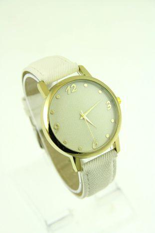 Biały zegarek damski z imitacją jeansu na skórzanym pasku                                  zdj.                                  1