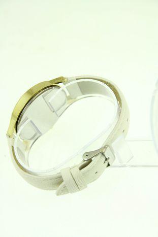 Biały zegarek damski z imitacją jeansu na skórzanym pasku                                  zdj.                                  4