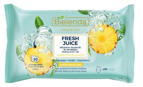 """Bielenda Fresh Juice Chusteczki micelarne z wodą cytrusową Ananas 1op.-20szt"""""""