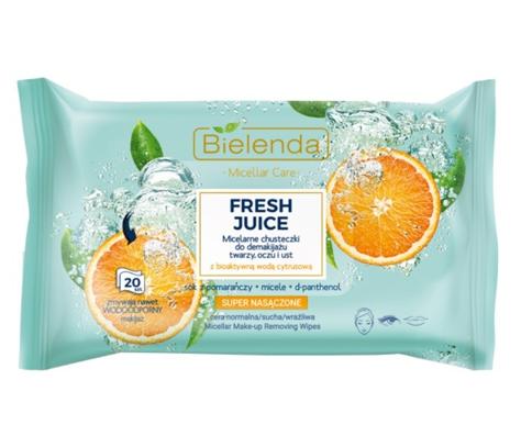 """Bielenda Fresh Juice Chusteczki micelarne z wodą cytrusową Pomarańcza 1op.-20szt"""""""