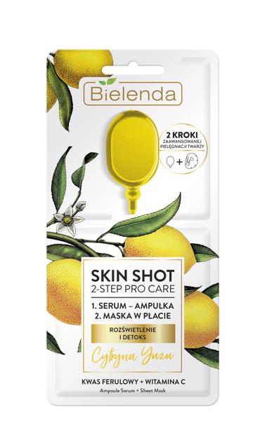 "Bielenda Skin Shot 2-Step Pro Care Maska w płacie + ampułka-serum Cytryna Yuzu  1szt"""