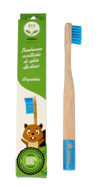 """Biomika Szczoteczka do zębów bambusowa miękka dla dzieci - niebieskie włosie  1szt"""""""