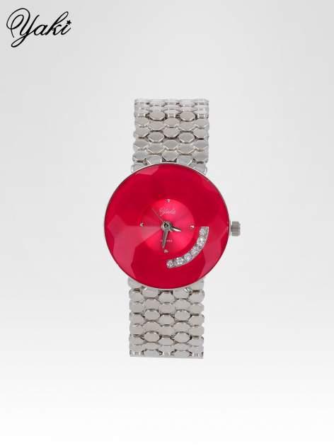 Biżuteryjny srebrny zegarek damski z czerwoną tarczą z cyrkoniami