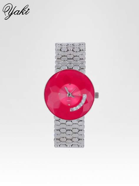 Biżuteryjny srebrny zegarek damski z różową tarczą z cyrkoniami                                  zdj.                                  1