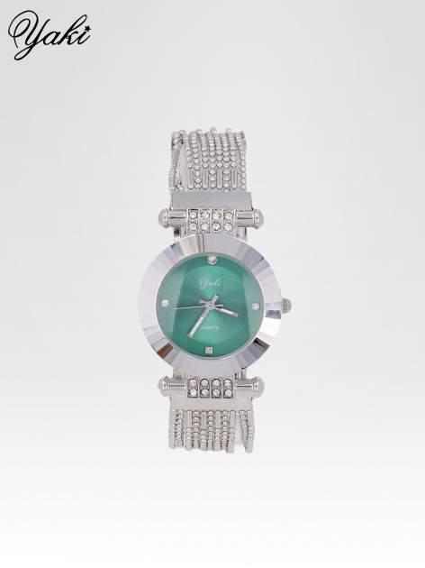 Biżuteryjny srebrny zegarek damski z zieloną tarczą