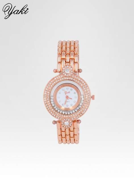 Biżuteryjny zegarek damski z cyrkoniową kopertą w kolorze różowego złota                                  zdj.                                  1