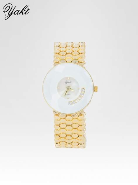 Biżuteryjny złoty zegarek damski z białą tarczą z cyrkoniami                                  zdj.                                  1