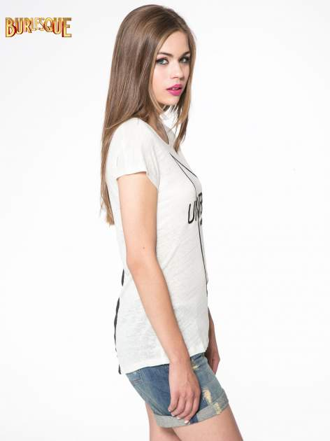 Blady ecru t-shirt z nadrukiem UNIVERSITY FORVER                                  zdj.                                  3