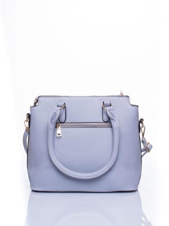 Błękitna torba na ramię z ozdobnymi detalami                                   zdj.                                  3