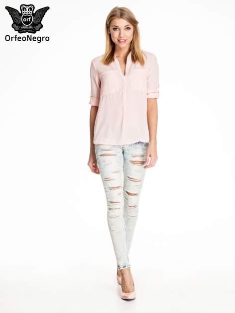 Błękitne marmurkowe spodnie trash jeans                                  zdj.                                  2
