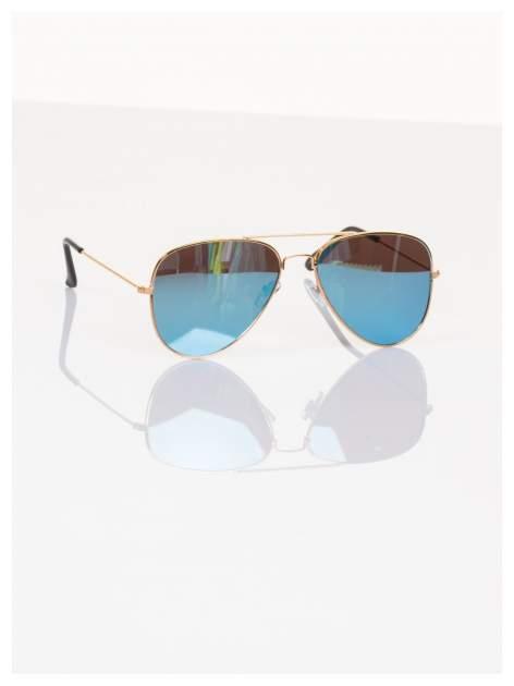 Błękitne okulary przeciwsłoneczne pilotki AVIATORY lustrzanki                                   zdj.                                  3