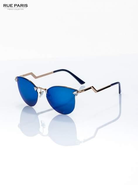 Błękitno-złote okulary przeciwsłoneczne lustrzanki  stylizowane na FENDI