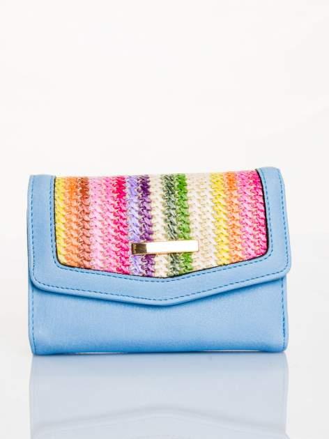 Błękitny portfel z plecionką                                  zdj.                                  1