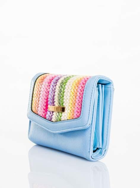 Błękitny portfel z plecionką                                  zdj.                                  2