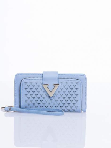 Błękitny portfel ze złotym detalem V