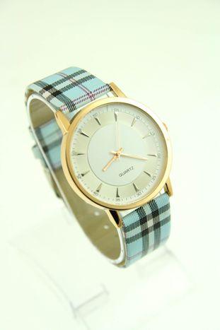 Błękitny zegarek damski na pasiastym pasku                                  zdj.                                  1