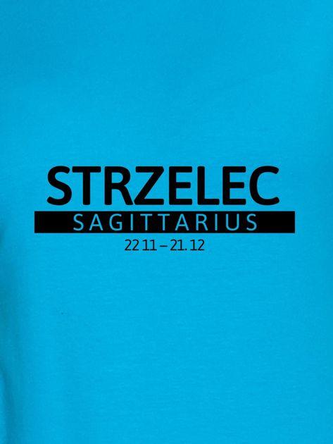 Bluza damska z nadrukiem znaku zodiaku STRZELEC turkusowa                                  zdj.                                  2