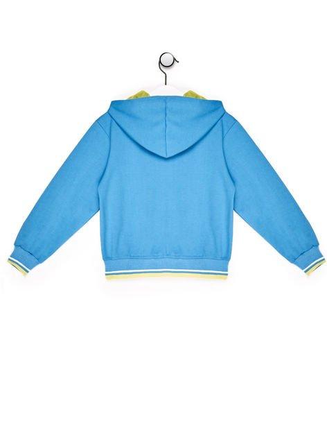 Bluza chłopięca z kolorową tekstową naszywką turkusowa