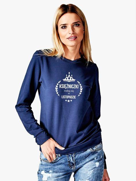 Bluza damska KSIĘŻNICZKA z nadrukiem granatowy                              zdj.                              1