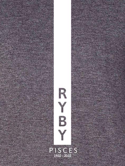 Bluza damska RYBY znak zodiaku ciemnoszara                              zdj.                              2