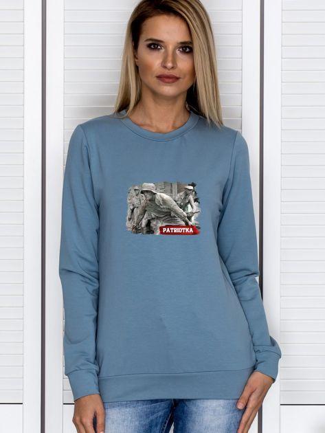 Bluza damska patriotyczna PATRIOTKA z nadrukiem niebieska                              zdj.                              1