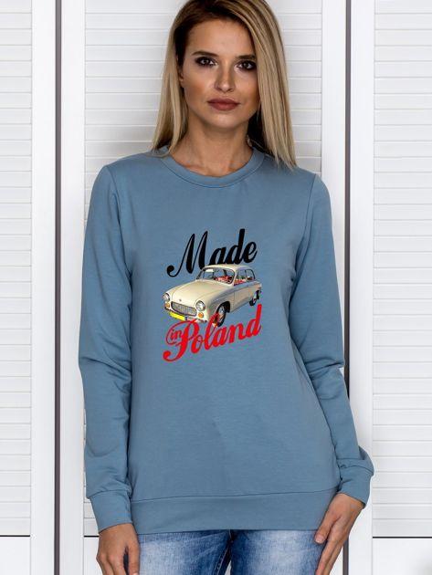 Bluza damska patriotyczna Syrenka MADE IN POLAND niebieska                                  zdj.                                  1